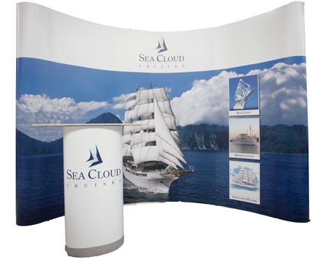 4 Meter Messestand Seacloud mit Theke